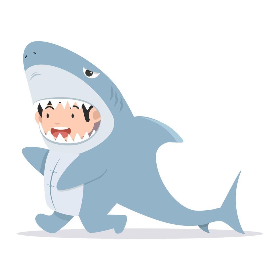 simpatico personaggio da bambino in costume da squalo vettore