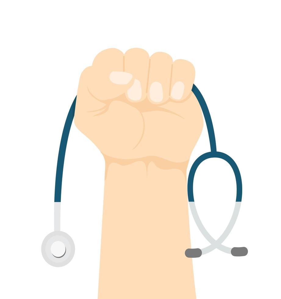 mano che tiene uno stetoscopio vettore