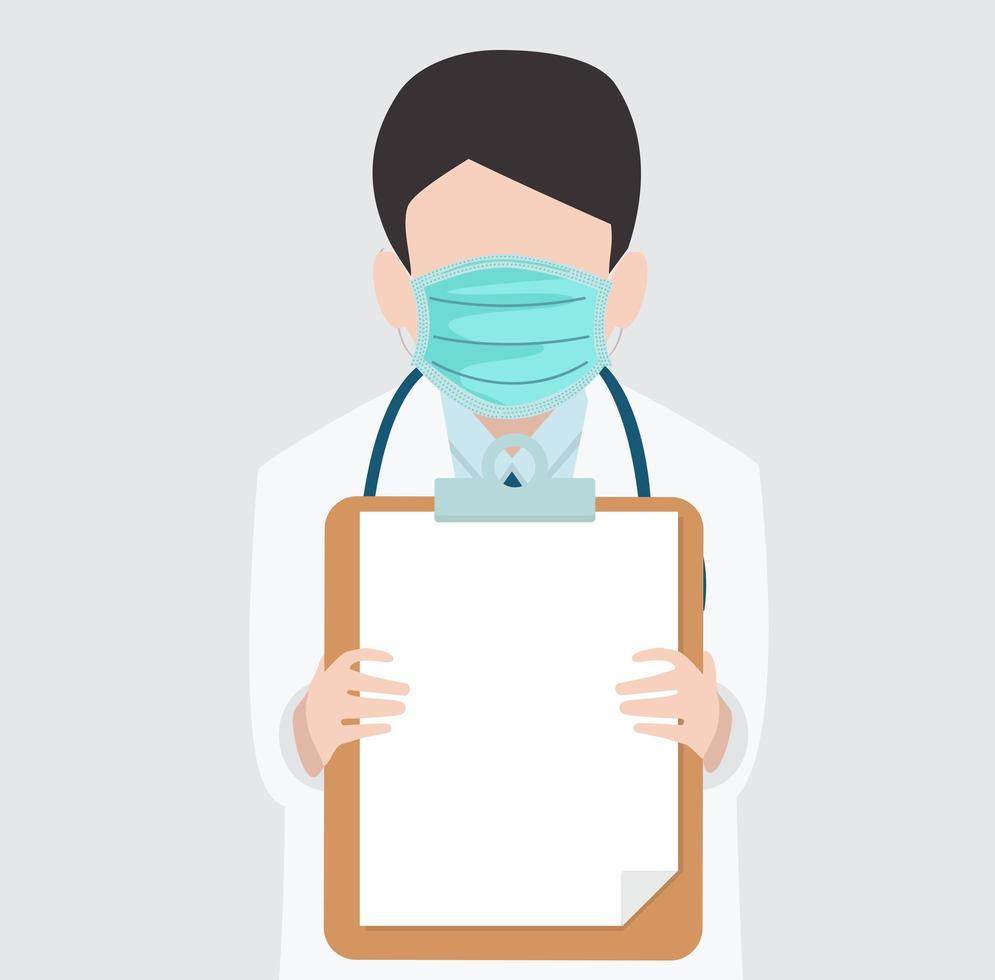 medico che tiene un'illustrazione vettoriale di appunti