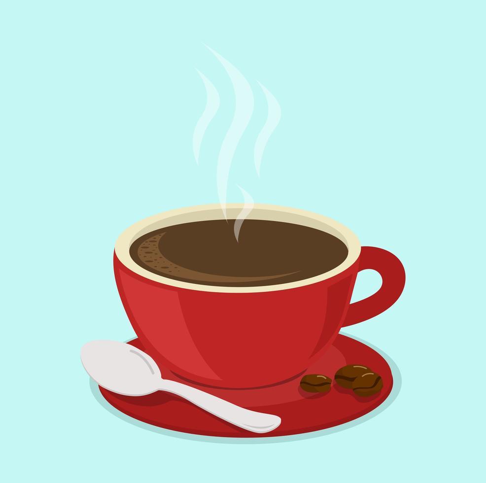 vettore di caffè e fagioli tazza rossa calda