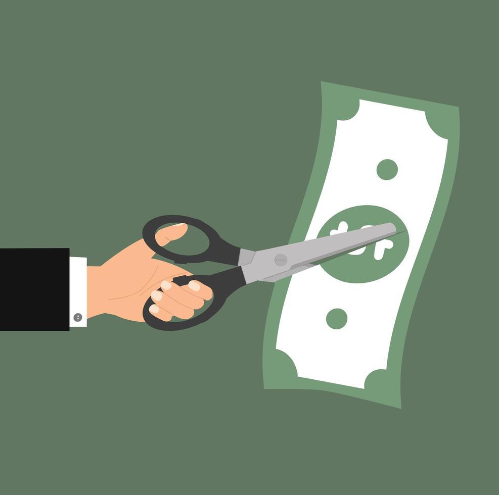 mano dell'uomo d'affari che taglia una banconota da un dollaro vettore