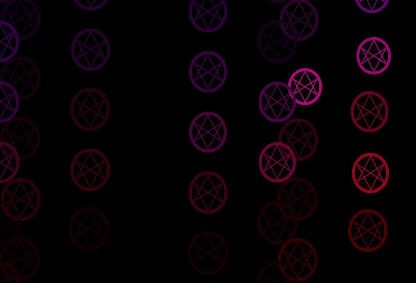 sfondo vettoriale viola scuro, rosa con simboli occulti.