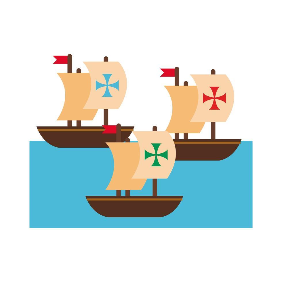 navi caravelle per stile piatto columbus day vettore