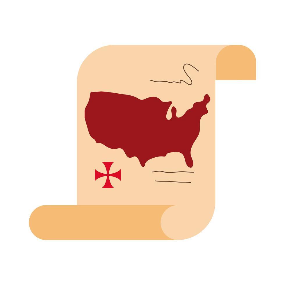 Mappa degli Stati Uniti d'America su carta papiro per stile piatto columbus day vettore