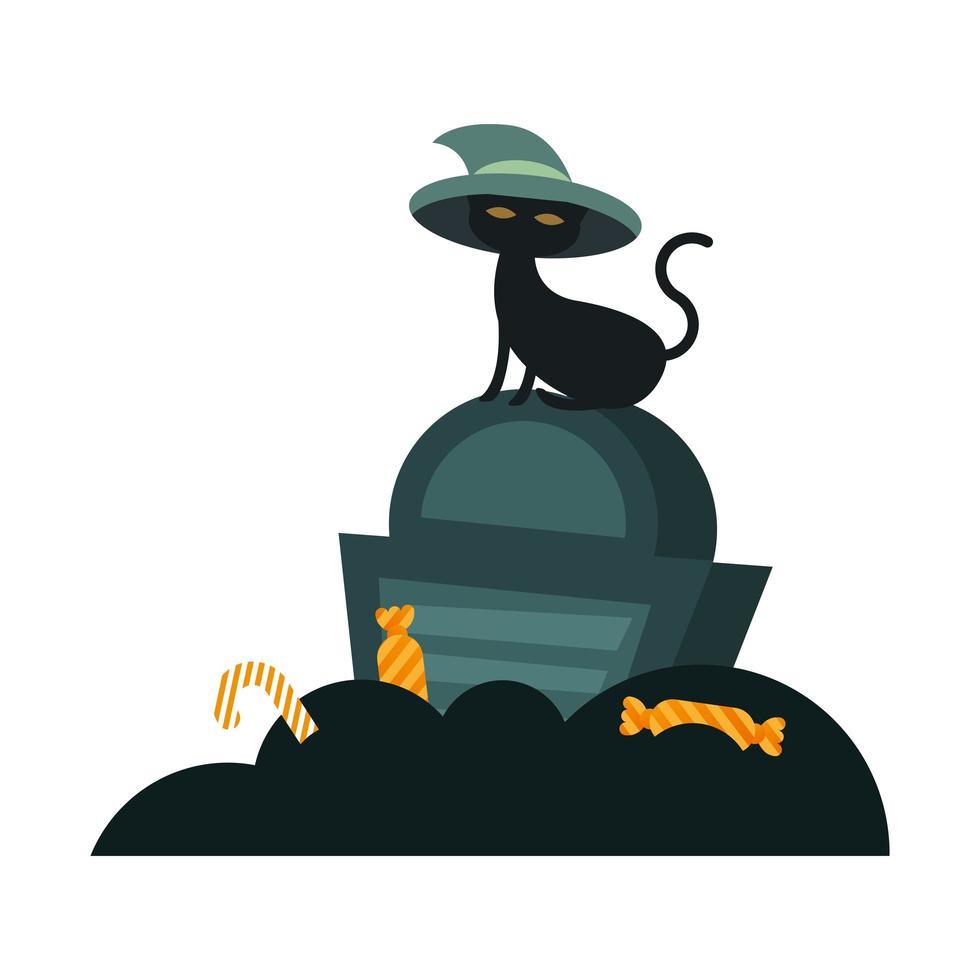 gatto di Halloween con il cappello sulla tomba disegno vettoriale