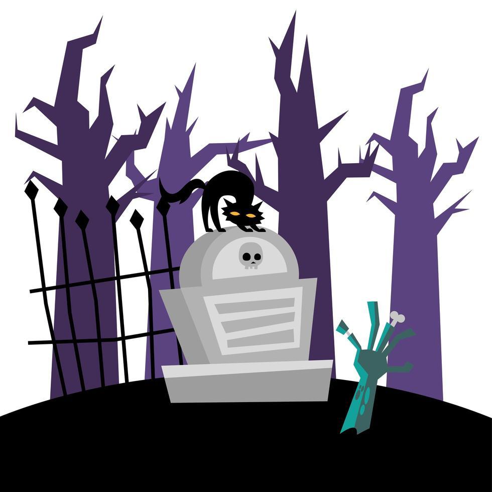 gatto di Halloween sulla tomba e disegno vettoriale mano zombie
