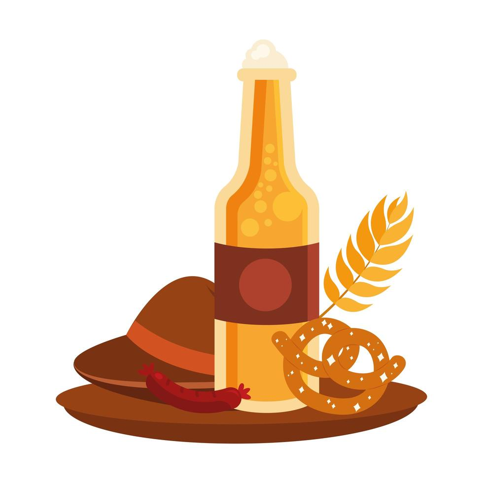 Oktoberfest bottiglia di birra, cappello, salsiccia e disegno vettoriale pretzel