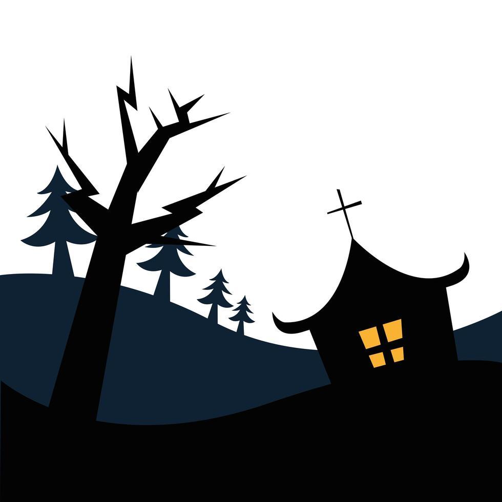 casa di halloween e disegno vettoriale albero
