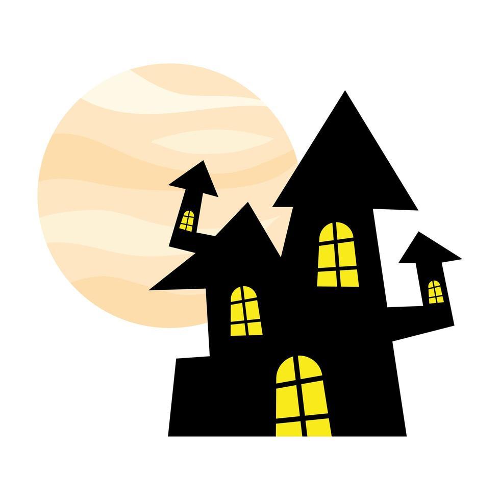 casa di halloween di fronte al disegno vettoriale luna