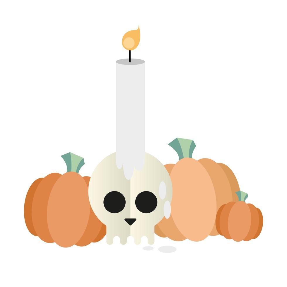 zucche di Halloween con disegno vettoriale teschio