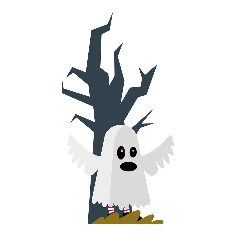 cartone animato fantasma di halloween con disegno vettoriale albero nudo