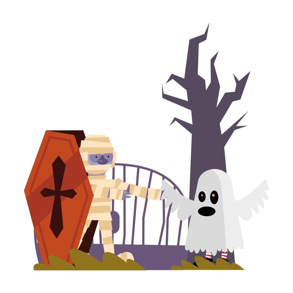 halloween mummia e fantasma cartoon design vettoriali