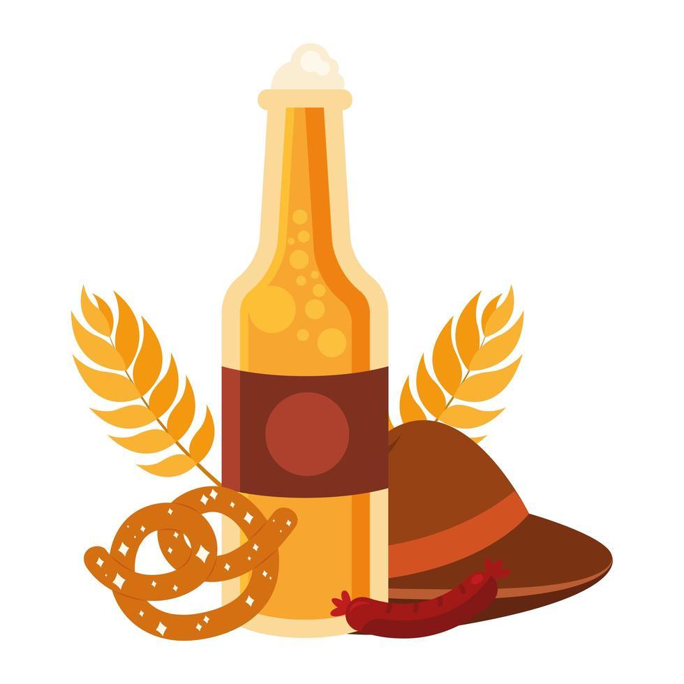 Oktoberfest bottiglia di birra, cappello, pretzel e disegno vettoriale di salsiccia
