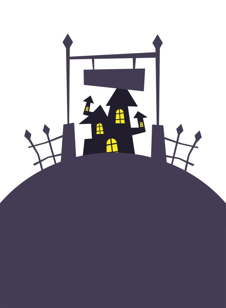 cancello di Halloween e disegno vettoriale casa