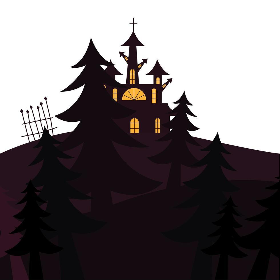 casa di halloween con disegno vettoriale alberi di pino