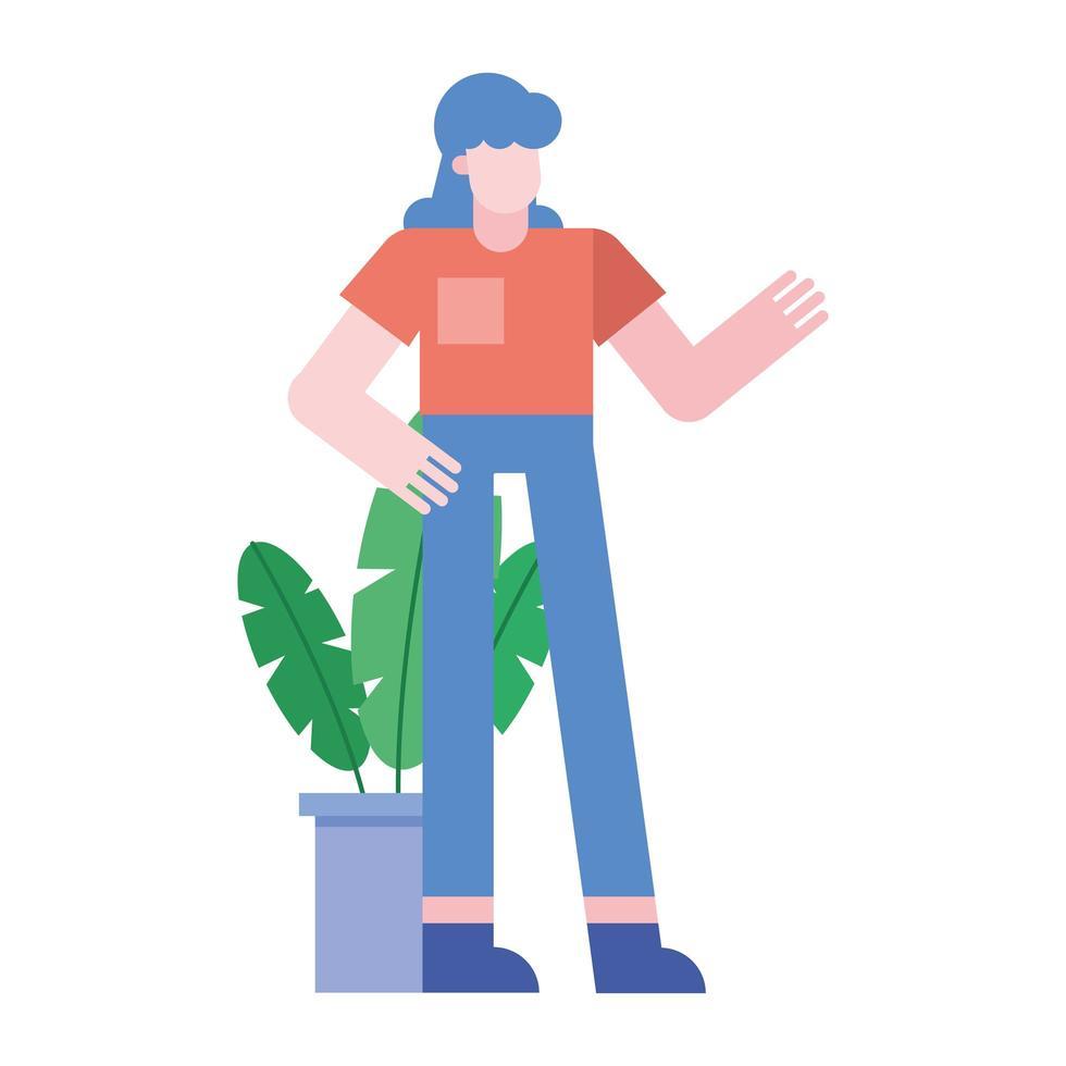 cartone animato donna con pianta all'interno del disegno vettoriale pentola