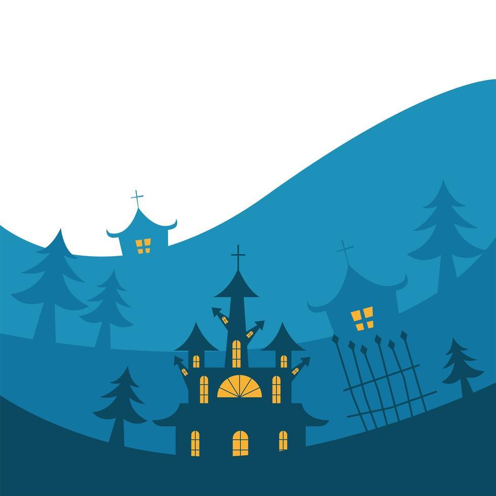 case di halloween con alberi di pino e disegno vettoriale cancello