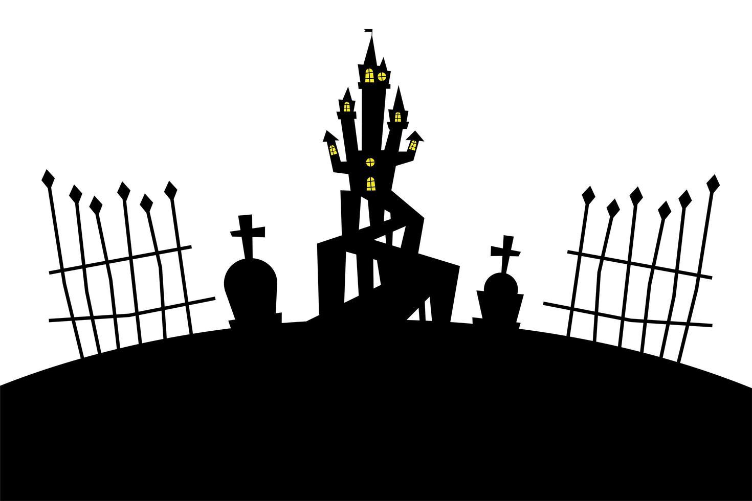 casa di halloween al disegno vettoriale del cimitero