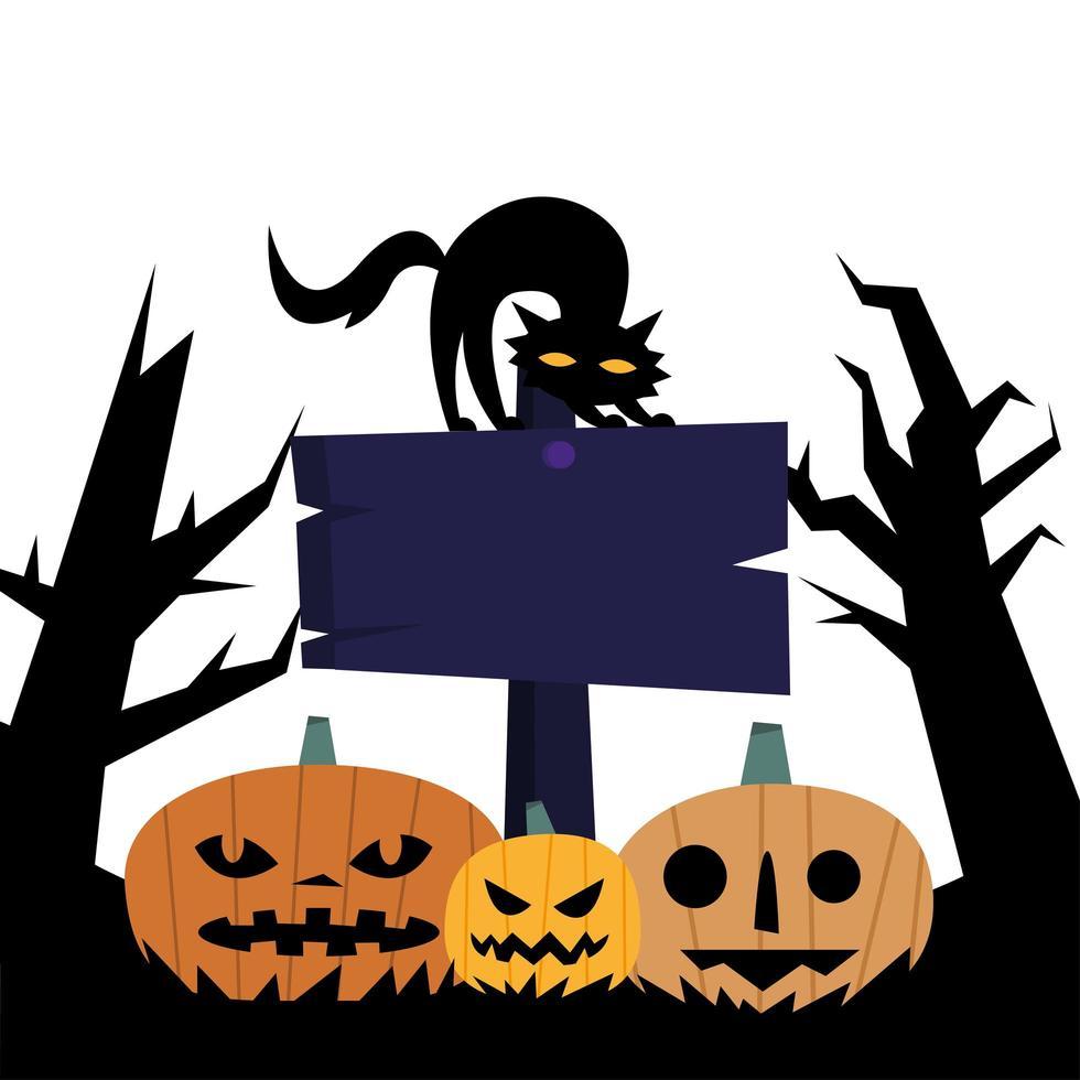 zucche di Halloween con banner e disegno vettoriale gatto