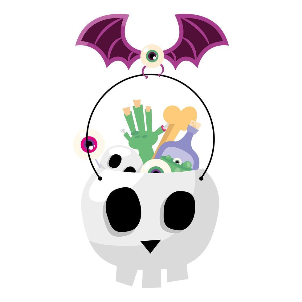 caramelle di Halloween nel disegno vettoriale di ciotola del cranio