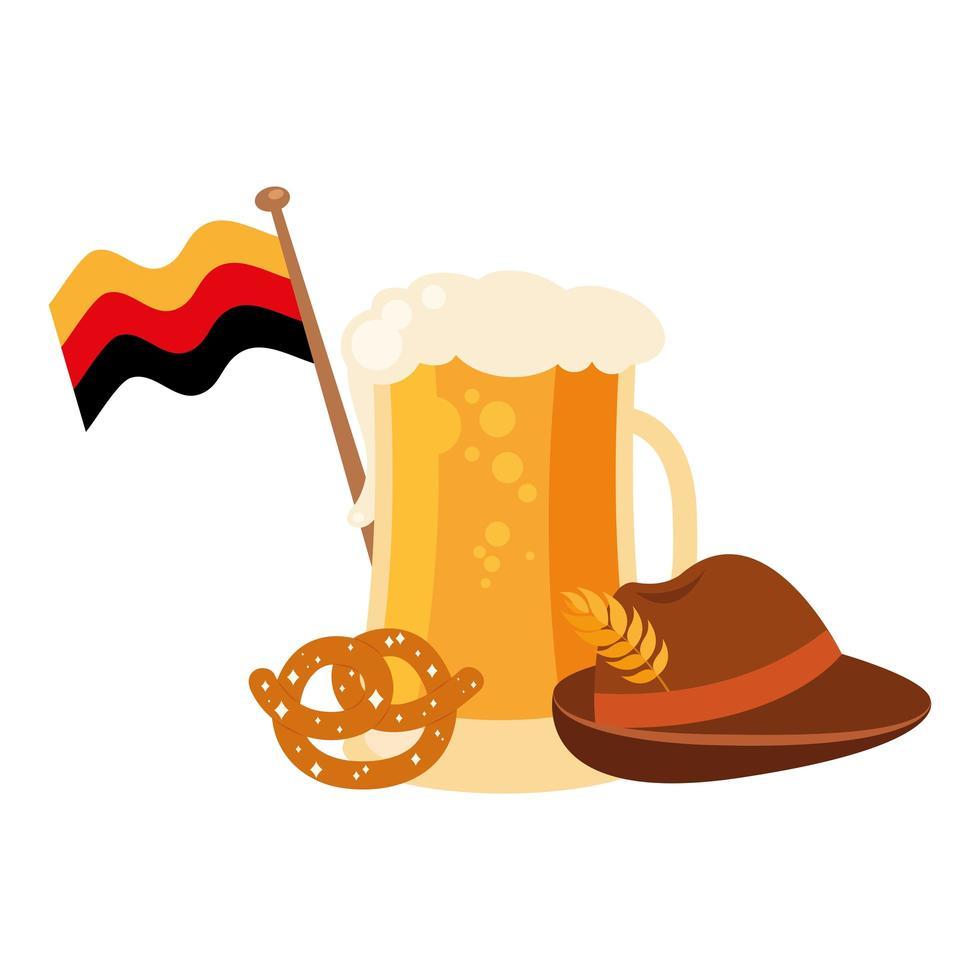 Oktoberfest bicchiere da birra con bandiera, pretzel e cappello disegno vettoriale
