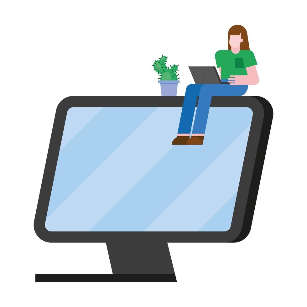 fumetto della donna con il computer portatile sul disegno di vettore del computer