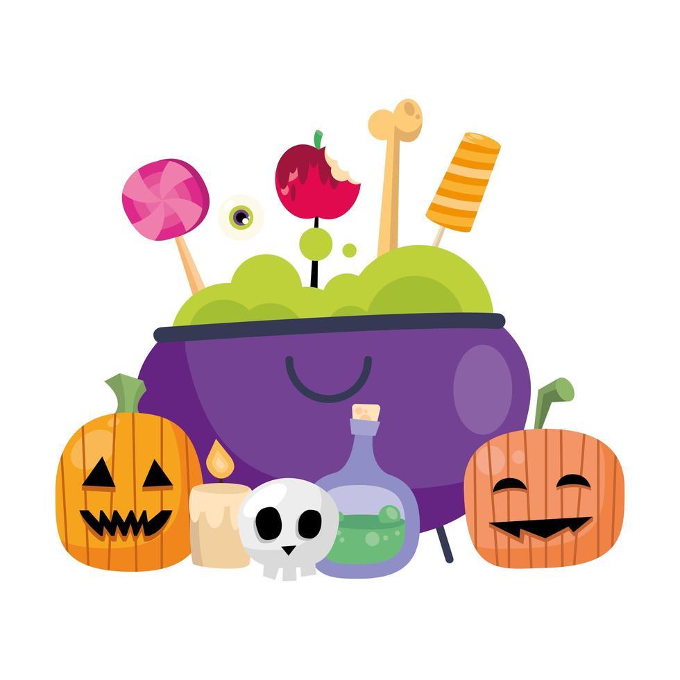 cartoni animati e caramelle delle zucche di Halloween nel disegno di vettore della ciotola della strega