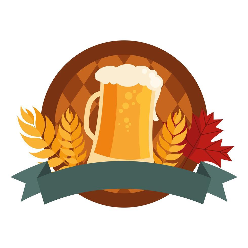 bicchiere di birra e barile con disegno vettoriale di spighe di grano