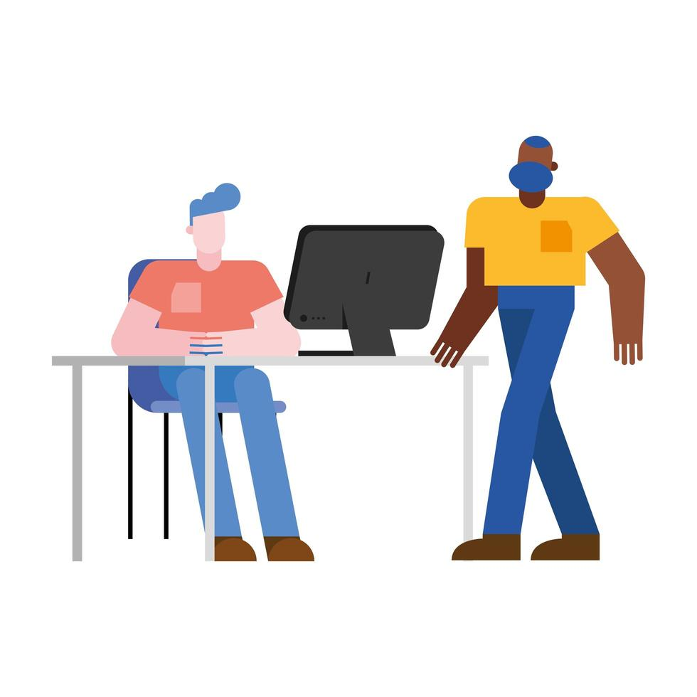 uomini alla scrivania in ufficio con disegno vettoriale computer