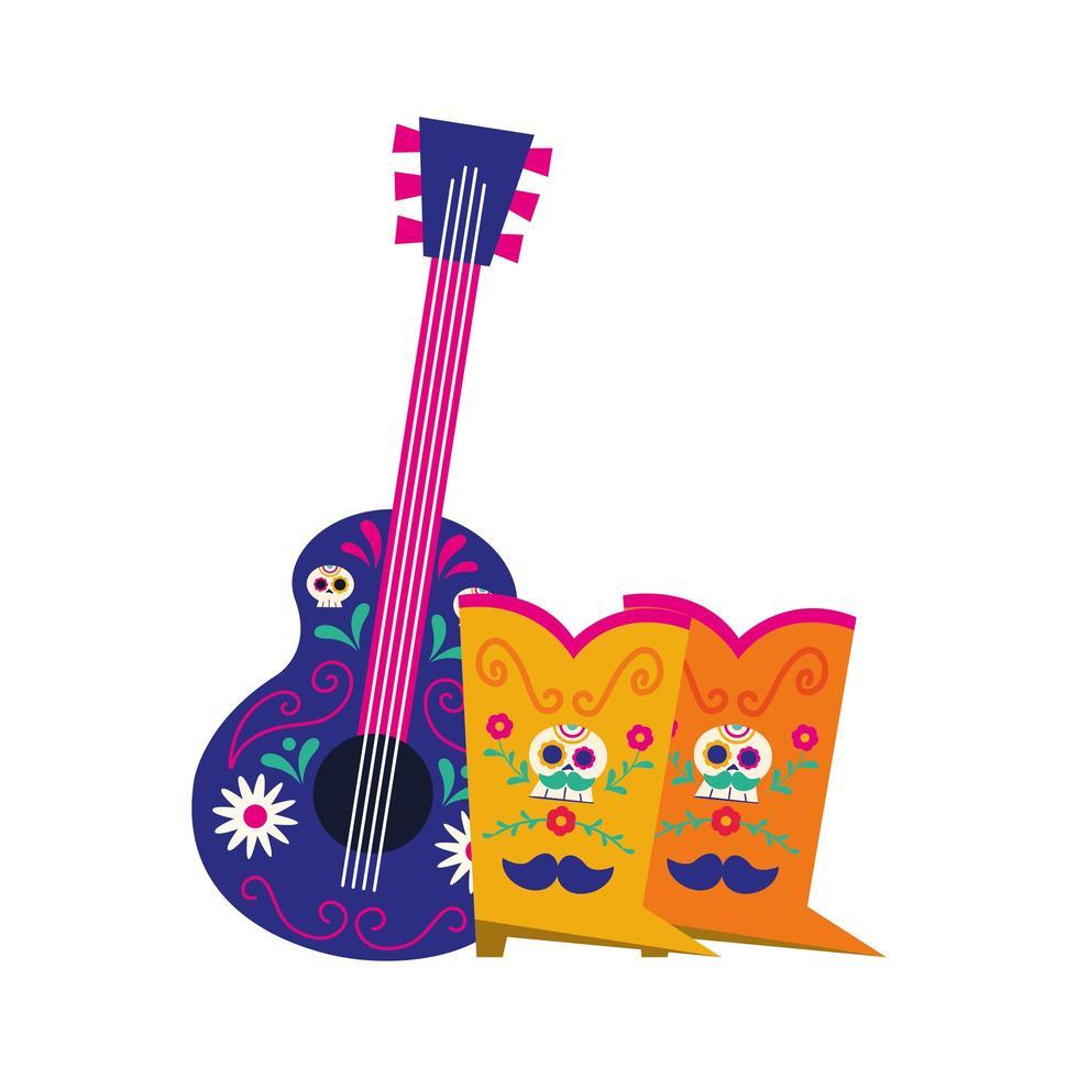 chitarra messicana e stivali disegno vettoriale