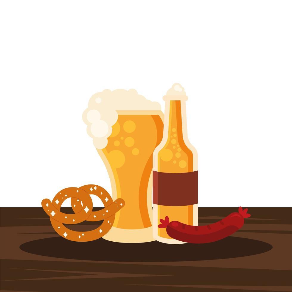 Oktoberfest bicchiere di birra, bottiglia, pretzel e disegno vettoriale di salsiccia