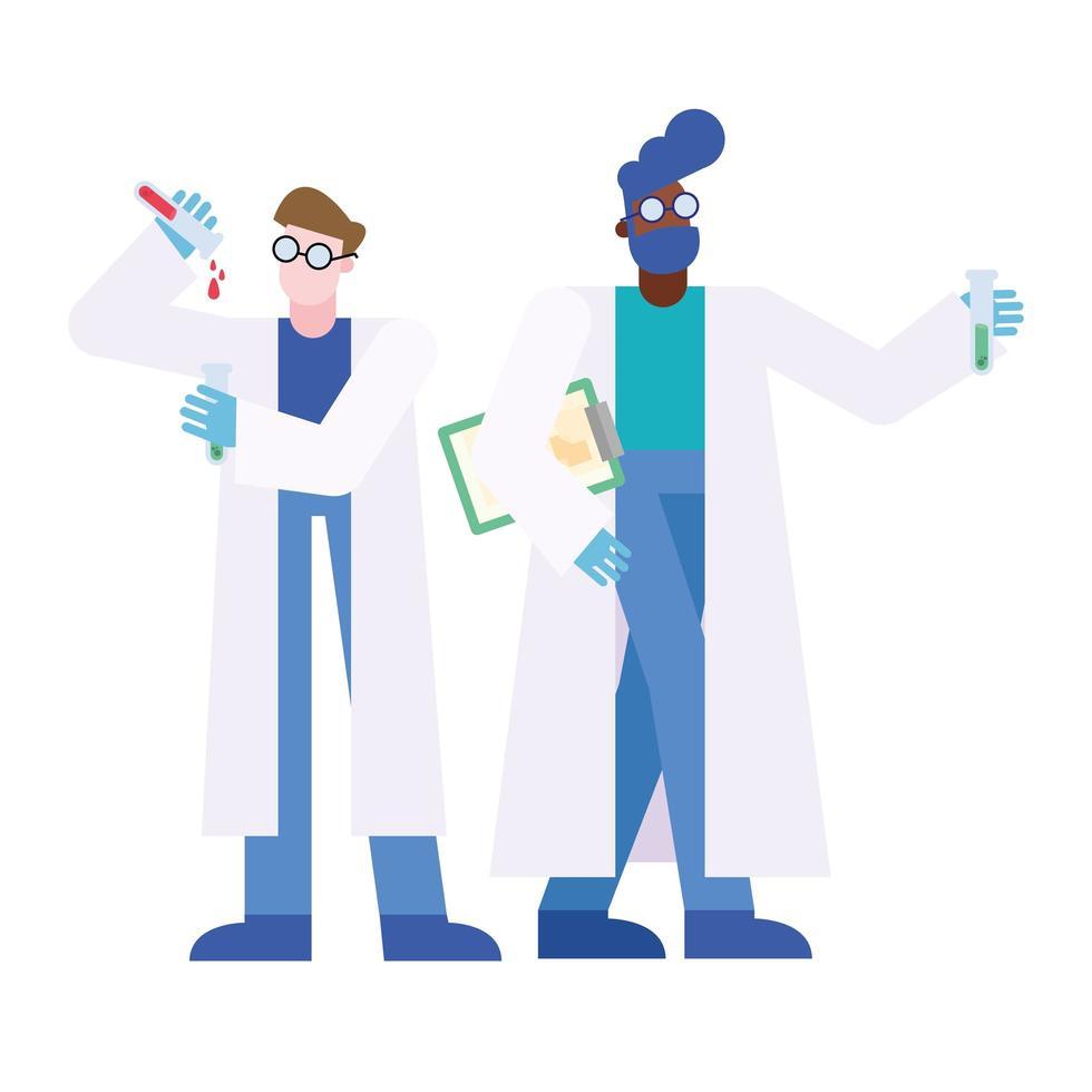 uomini del chimico con tubi e disegno vettoriale del documento