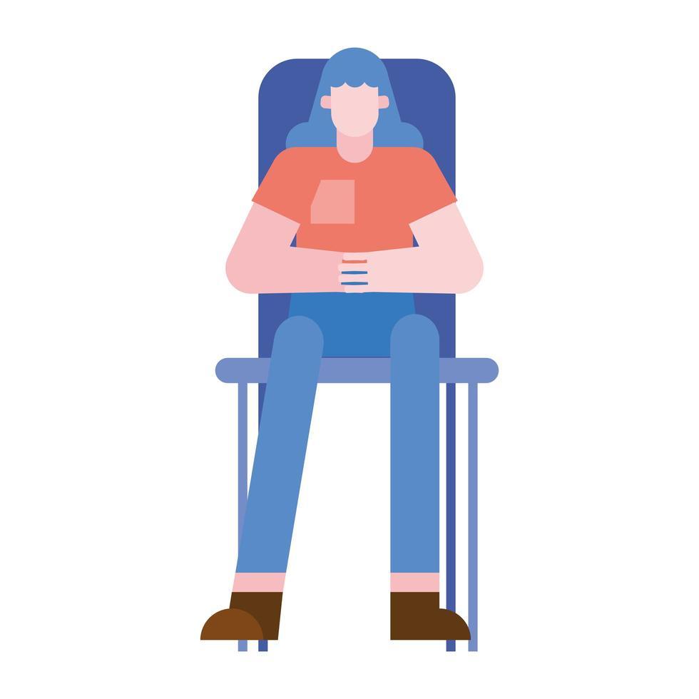 cartone animato donna sulla sedia disegno vettoriale
