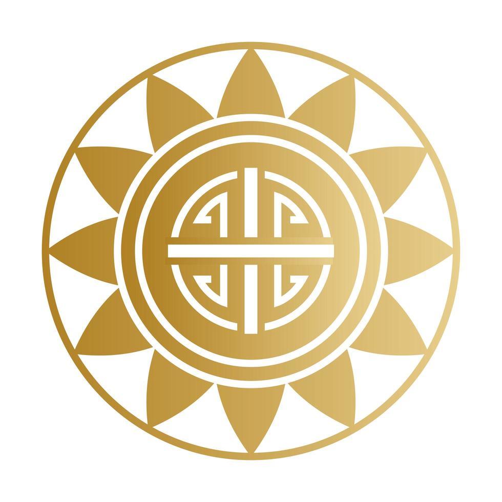 simbolo cinese timbro sigillo oro disegno vettoriale