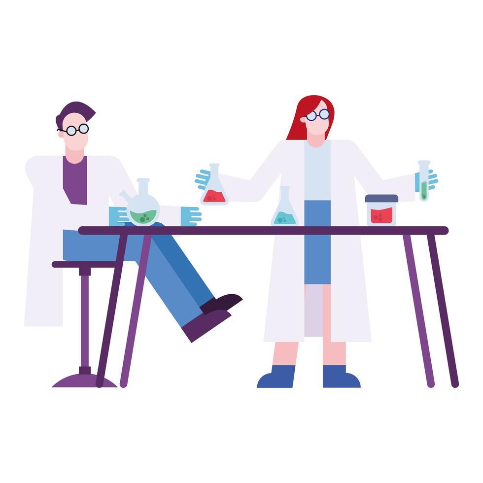uomo chimico e donna con boccette al disegno vettoriale scrivania