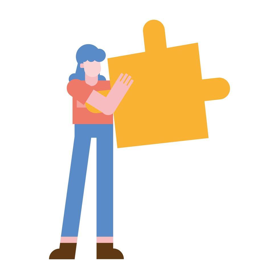 donna con disegno vettoriale puzzle