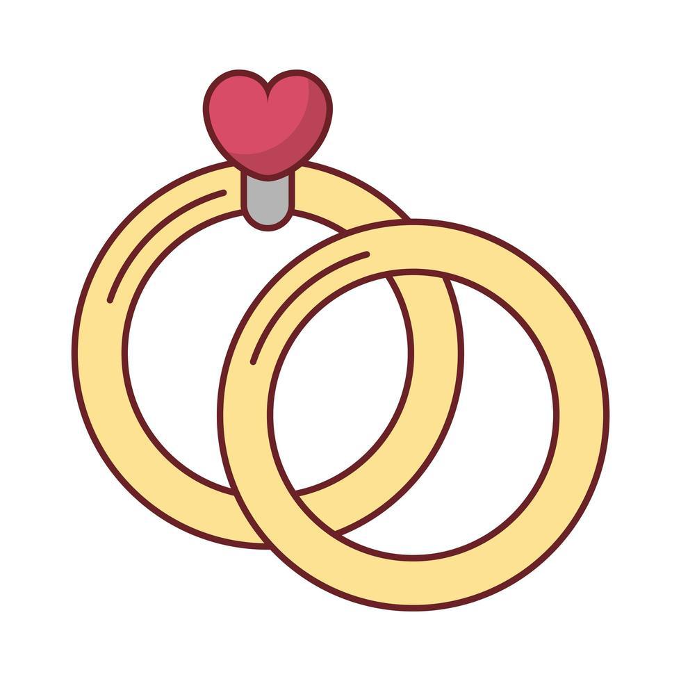 felice giorno di San Valentino cuore in anelli di proposta vettore