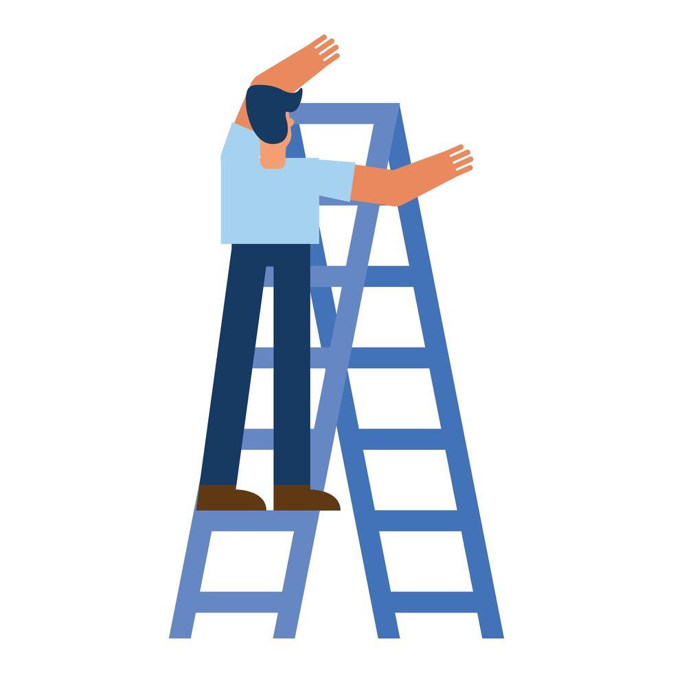 uomo sulla scala disegno vettoriale