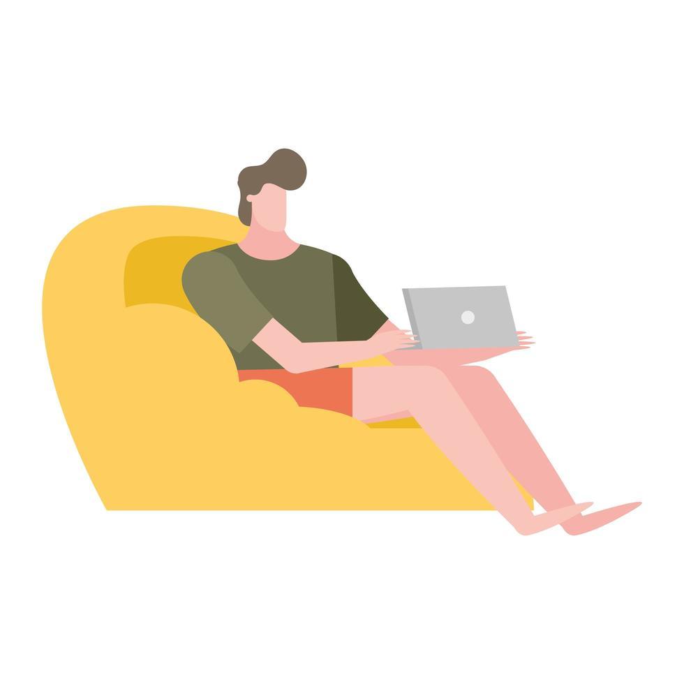 uomo con il computer portatile sul disegno vettoriale di casa sedia