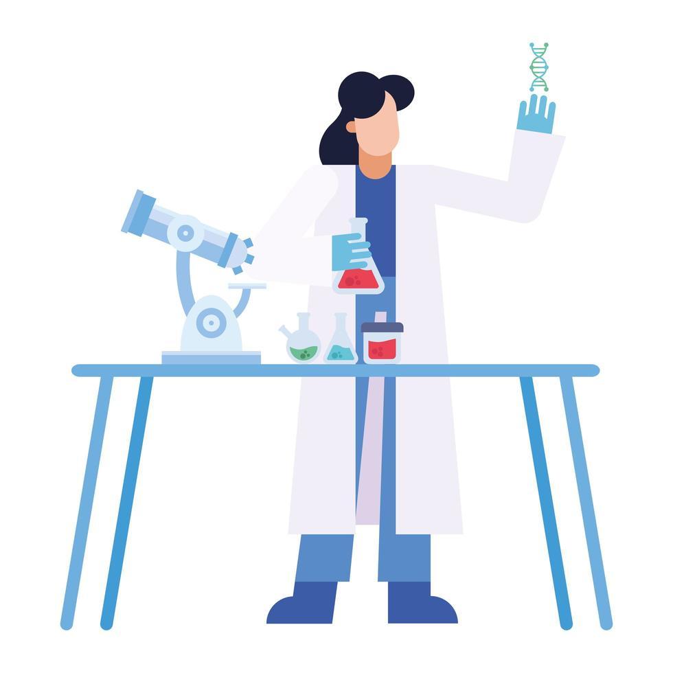 donna del chimico con boccette di dna microscopio al disegno vettoriale di scrivania