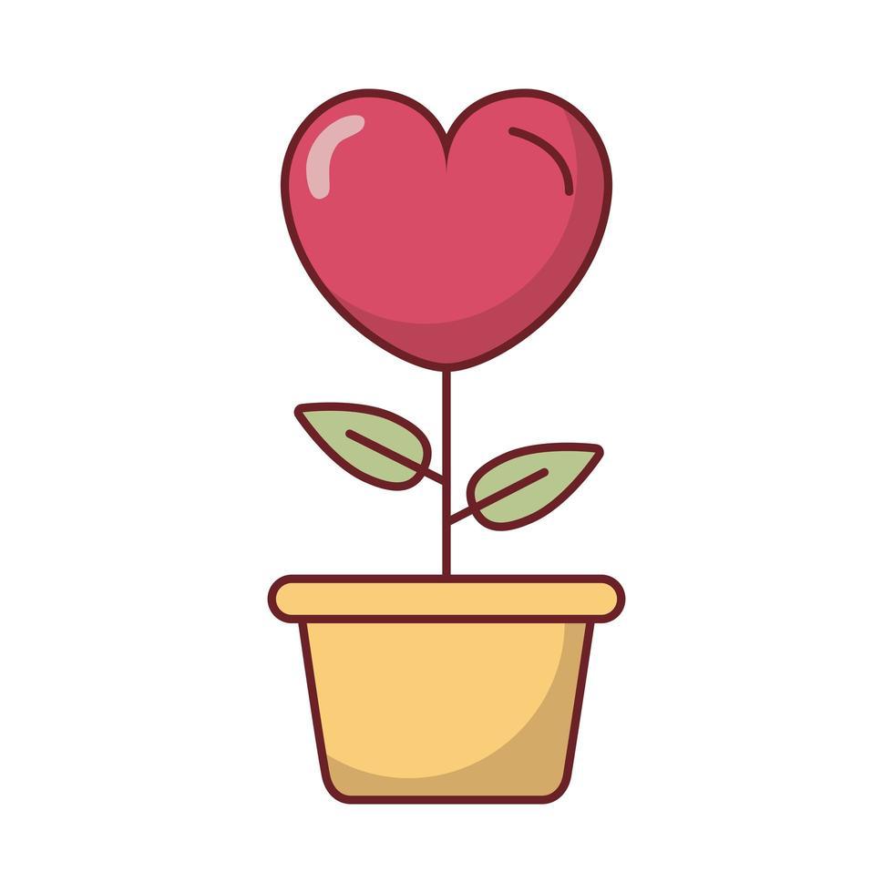bellissimo fiore cuore in vaso di ceramica vettore