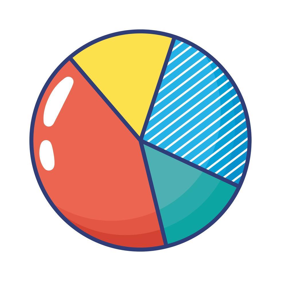 icona di stile piatto del grafico a torta delle statistiche vettore