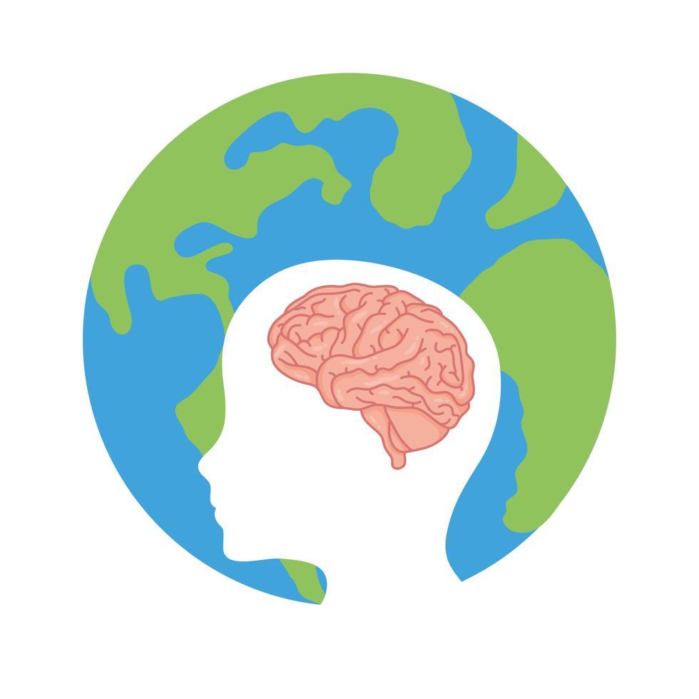 testa di profilo con cervello umano e pianeta terra vettore