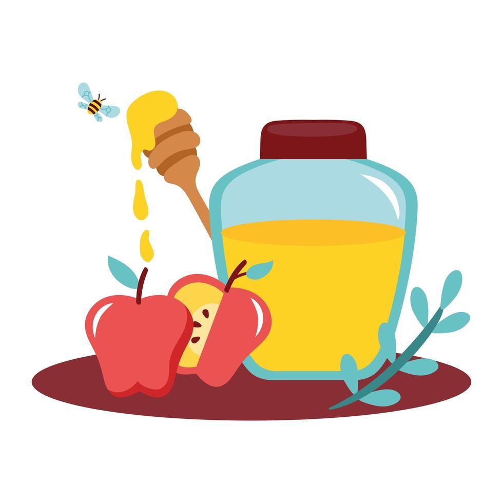 miele in vaso con mele e api che volano vettore