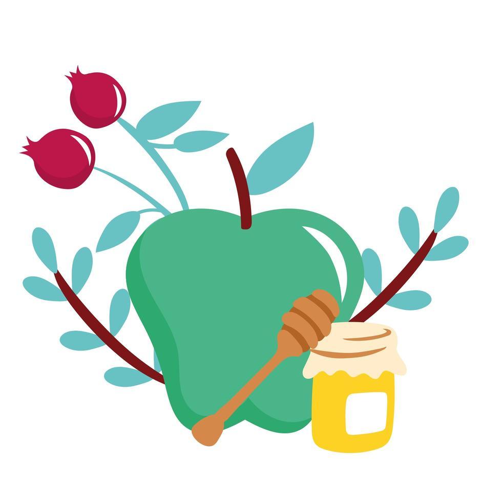 mele e ciliegie con vasetto di miele vettore