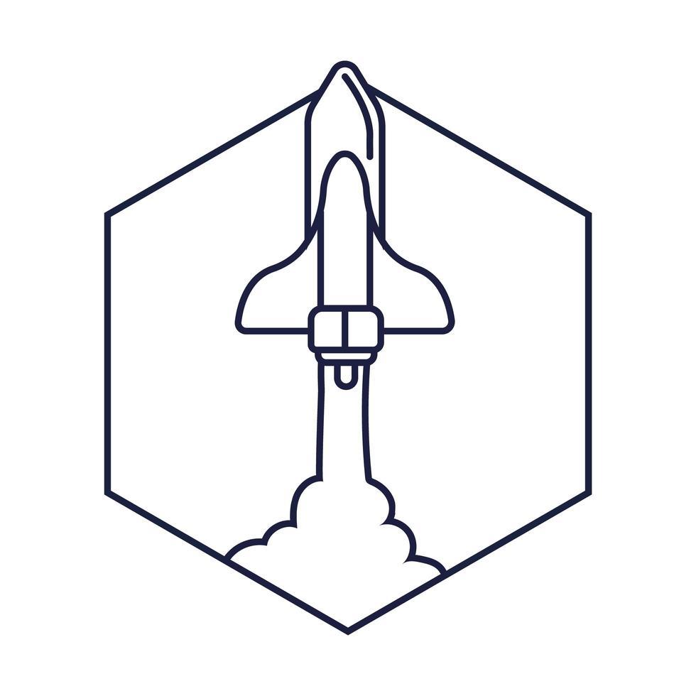 distintivo di esagono spaziale con stile di linea di volo di astronave vettore