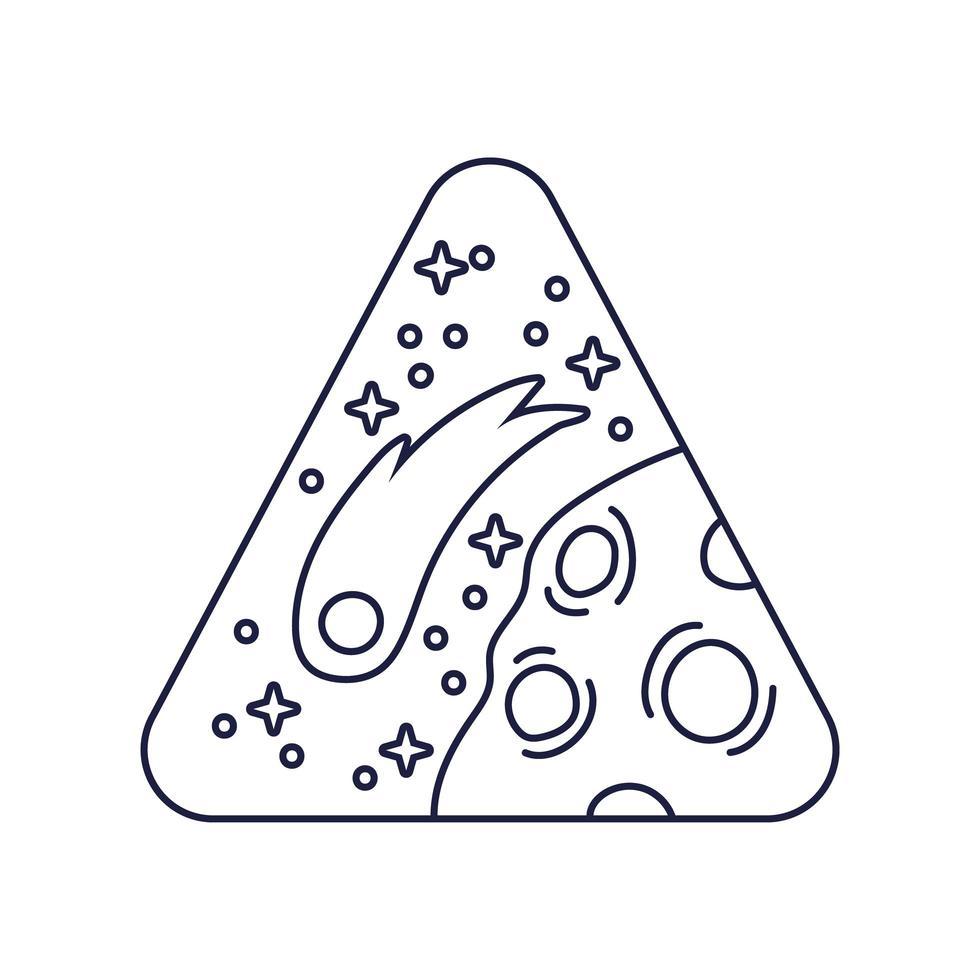 distintivo triangolare spaziale con stile linea pianeta marte vettore