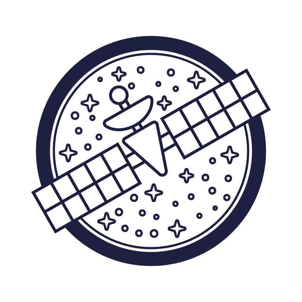 distintivo spaziale con stile linea satellitare vettore