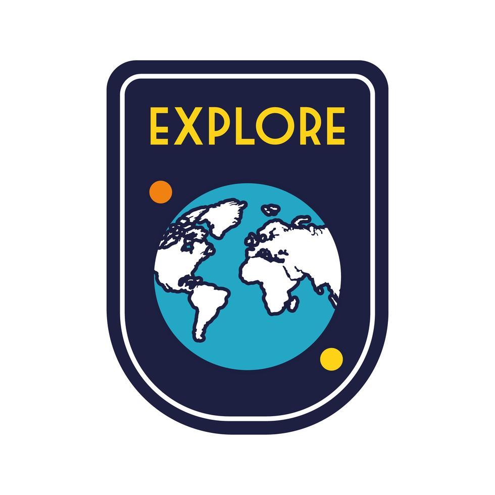 distintivo dello spazio con la linea del pianeta terra e lo stile di riempimento vettore