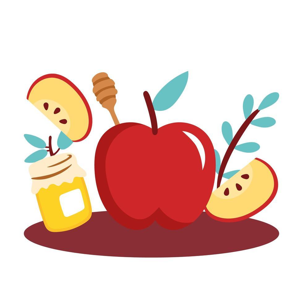 mele con vaso di miele dolce vettore